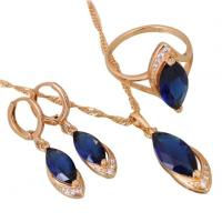 Wholesale Royal Blue Sapphire Wedding Bridal CZ Cubic Zirconia Jewelry Necklace Earring Set For Women Gift from china suppliers