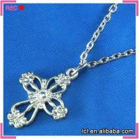 China Cross pendant stainless steel necklace, long chain necklace wholesale on sale