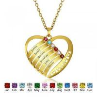 Wholesale Best Dropship Product * Engrave & Birthstone Personalized Silver Necklace #NE101243 from china suppliers