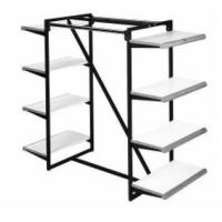 Buy cheap Wood Shelf Metal Chrome Double Rail Clothing and Garment Hanging Rack from wholesalers