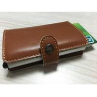 Buy cheap Multi Function Genuine leather/PU & Aluminum Credit Card Holder Slim Metal RFID Protector Wallet from wholesalers