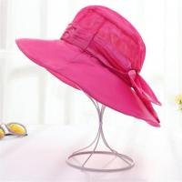 Buy cheap Red Color Wide Brim Cotton Sun Beach Hats With Bowknot for Women from wholesalers