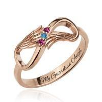 Buy cheap Angel Wings Infinity Ring with Birthstones In Rose Gold from wholesalers
