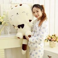 China 18 45CM Include Tail Cute Plush Stuffed Toys Cushion Fortune Cat Doll High 13'' Beige Color on sale
