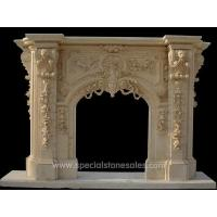 Buy cheap Classic Yellow Marble Outdoor Stone Fireplace Surrounds Designs Ideas from wholesalers