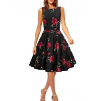 Wholesale Women's Vintage Rose Print Belted A-line Dress from china suppliers