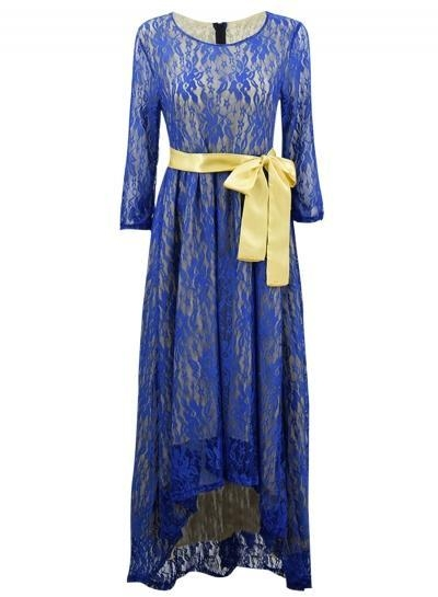 Quality Women's 3/4 Sleeve Lace High Low Evening Party Dress for sale