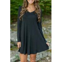 Wholesale Black V Neck Long Sleeve Stretch Knit Trapeze Dress from china suppliers