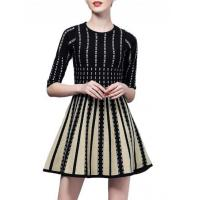 Wholesale Women's Color Block Striped A-line Dress from china suppliers