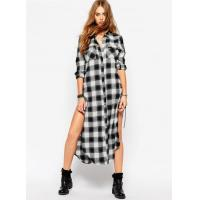 Buy cheap Women's Checked Longline Side Split Shirt With Eyelet Lace Up from wholesalers