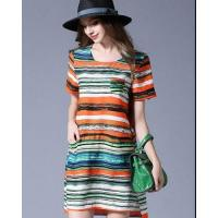Buy cheap Short Sleeve Round Neckline Long Striped Dress from wholesalers