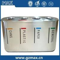 Buy cheap Open TOP four classification dustbin with rubber at the bottom stainless steel garbage bin from wholesalers