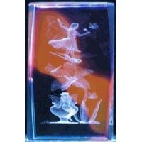 """Wholesale 3"""" 3D Laser Crystal Cube, Fairy on dragonfly w/ Color Background from china suppliers"""
