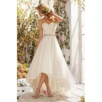 2015 Ruching Sweetheart High Low Organza Wedding Dress Manufactures