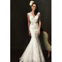 Buy cheap 2015 Lace Trumpet Ribbon V-neck Wedding Dress from wholesalers