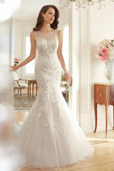 Quality Court Train Applique Beads Scoop 2015 Wedding Dress for sale