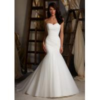 Wholesale Column Organza Sweetheart Beaded Wedding Dress from china suppliers