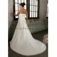 Wholesale Ruched Chiffon Waist A-line Applique Neck Wedding Dress from china suppliers