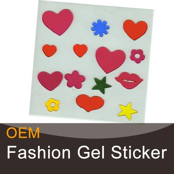 Quality Heart-shaped decorative gel art stickers for sale