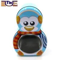 Buy cheap Irregular Tin Boxes Penguin Shape Christmas Gift Tin Box with a PET Window from wholesalers