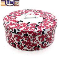 Buy cheap Large Round Brand Name Cake Tin Box with A Handle on Lid from wholesalers