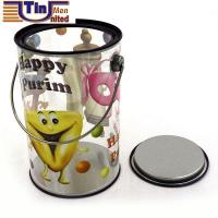 Buy cheap Sugar Bean Food Christmas Gift Storage PET Body Tin Bucket with Handle from wholesalers