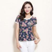China Summer New Style Women′s Flora Print Custom Design T-Shirt on sale