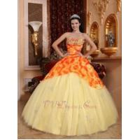 Buy cheap Light Yellow Quinceanera Gowns Dresses With Printed Flower Fabric from wholesalers