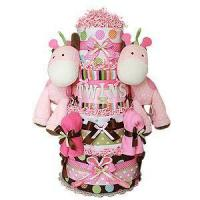 Buy cheap Large Diaper Cakes Twin Girls Jungle Giraffes Diaper Cake from wholesalers
