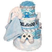 Buy cheap Girl Diaper Cakes Grey and Blue Bunny Diaper Cake from wholesalers