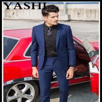 Buy cheap Uniform Fashion Stylish Slim Fit 100% Wool Besom Pocket Navy Blue Men Suit from wholesalers