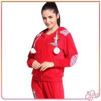 2014 china lovely red wholesale velvet for women branded cheap tracksuits sports