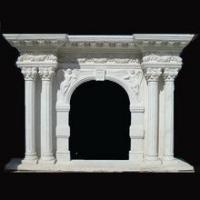 White Marble Fireplace with Pillar Mantel Surround Manufactures