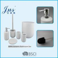 Wholesale 6 pcs white ceramic bathroom accessories with trash bin from china suppliers