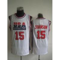 Wholesale USA Basketball 1992 Dream Team No.15 Magic Johnson White Jersey from china suppliers