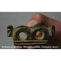 Buy cheap 7cm Antique China Hongshan Culture Old Jade Carved Double Beast Eyepatch Pendant from wholesalers