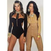 Buy cheap Womens Black Long Sleeve Bodysuit , Long Sleeve One Piece Jumpsuits Front Zipper from wholesalers