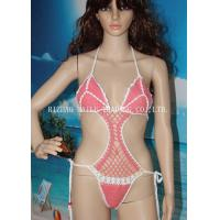 China One Piece High Cut Sexy Hollow Out Girls Bikini Swimming Wear , Pink With White Edge on sale
