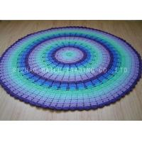 Buy cheap Scallop Edge Blue Crochet Round Rug Anti - Slip Portable Knit T Shirt Rug from wholesalers