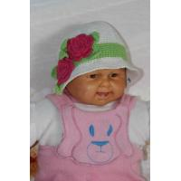 Buy cheap White Handmade Crochet Winter Hat For Baby With Red Flowers / Green Leaves product