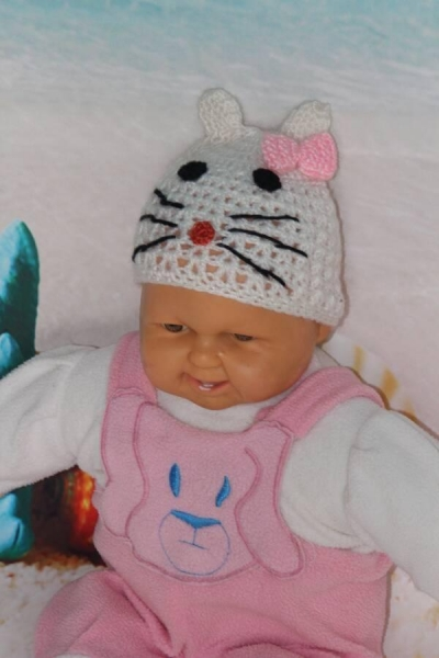 Buy cheap Cute Hollow Out White Cat Easy Crochet Hat With Beautiful Pink Bowknot from wholesalers