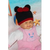 Buy cheap Mickey Mouse Head Shape Black Knitted Girls Crochet Hats 100% Acrylic Material product