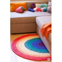 Buy cheap Rainbow round shape hand crochet floor rug from wholesalers