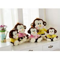 Buy cheap Brown Monkey Animal Plush Toys Sitting With Lace Bows / Yellow Warm Blouse from wholesalers