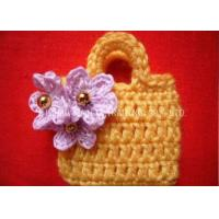 Wholesale Crochet Christmas Ornaments / Golden Beads Yellow Crochet Satchel With Purple Flower from china suppliers