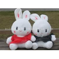 China White Stuffed Rabbit Toy Lace Red And Black Spotted Dress Rabbit Plush Toys on sale