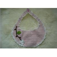 Buy cheap Handmade Crochet Baby Items / White Flowers Pink Knitted Baby Bibs With Leaves from wholesalers
