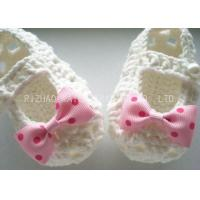 Buy cheap Creme Crochet Baby Shoes Hollow Out With Lace Bowknot , Knitted Baby Girl Shoes from wholesalers