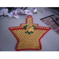 Buy cheap Overlocking Crochet Christmas Tree Ornaments Flowers Shape Yellow Basket With Red Border product