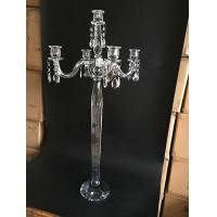 Buy cheap 5 Arm Tall Crystal Candelabras For Wedding Centerpiece from wholesalers
